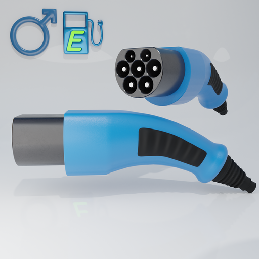 Thumbnail: Electric vehicle charging cable male connector.