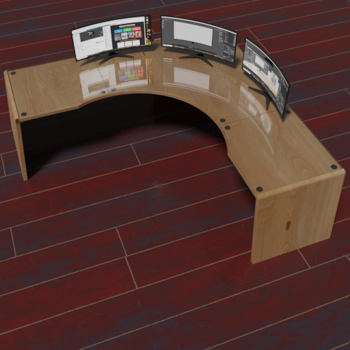 Thumbnail: Creators desk with 3 curved monitors and sockets.