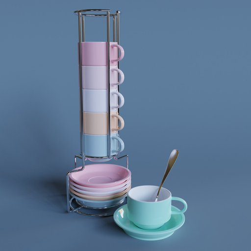 Thumbnail: Cup & Saucer Set Colored 2