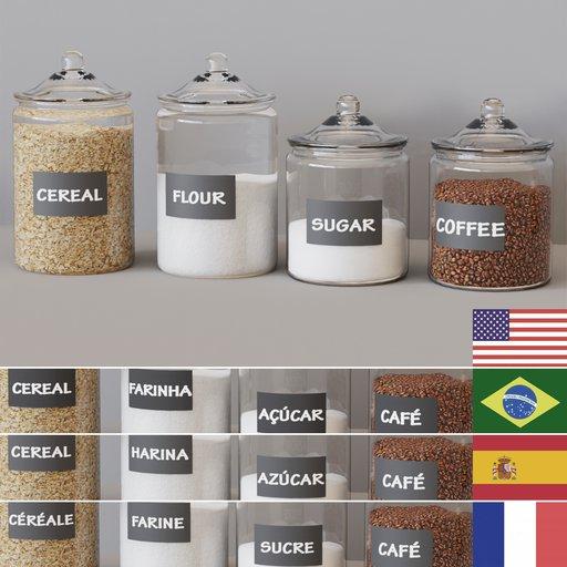 KITCHEN SET 10 - Glass pots multilanguage