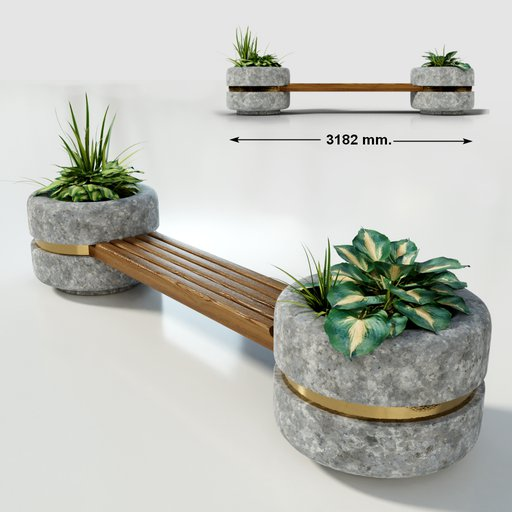 Thumbnail: Bridge bench between two planters