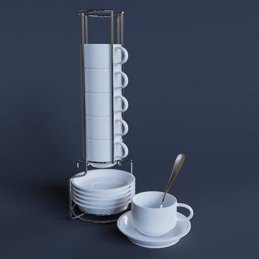 Thumbnail: Cup & Saucer Set White 2