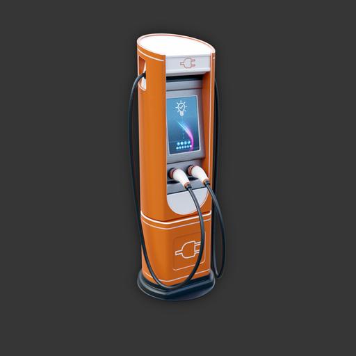 Electric Vehicle Charging Station (orange variant)