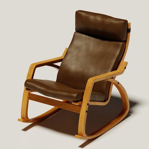 The IKEA Poäng rocking chair  (brown skin)